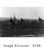 #9108 Picture of an Indian Encampment With Tipis by JVPD