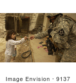 #9137 Picture Of A Soldier Giving Candy To A Girl