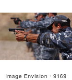 #9169 Picture Of Iraqi Police Shooting Weapons