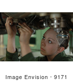 #9171 Picture Of A Female Soldier Working On A Jet Engine
