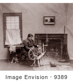 #9389 Picture Of A Woman Using A Spinning Wheel