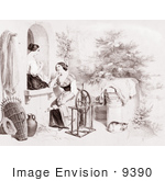 #9390 Picture Of Women Stitching And Using A Spinning Wheel