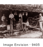 #9405 Picture Of A Family Using Spinning Wheels