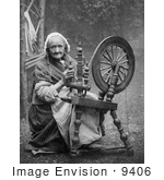 #9406 Picture of a Woman Using a Spinning Wheel by JVPD