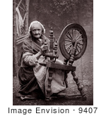 #9407 Picture Of A Woman Using A Spinning Wheel
