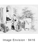 #9416 Picture Of Women Stitching And Using A Spinning Wheel