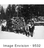 #9532 Picture Of Horses Pulling A Sleigh Of Logs