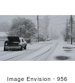 #956 Winter Photography Of A Broken Down Car In Snow
