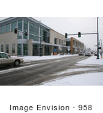 #958 Photography Of Snowy Roads Beside The Medford Oregon Library