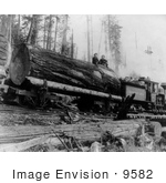 #9582 Picture Of People And Log On A Logging Train