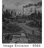 #9584 Picture Of A Lumber Camp In New Hampshire