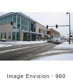 #960 Winter Photo Of Snowfall At The Public Library In Medford Oregon