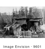 #9601 Picture Of A Logging Donkey And Saw