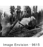 #9615 Picture Of Steam Crane Moving Logs