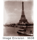 #9638 Picture Of A Tourist Boat By Eiffel Tower