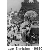 #9680 Picture Of Tourists Walking Under The Eiffel