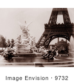 #9732 Picture Of Fountain Coutan Eiffel Tower And Trocadero Palace