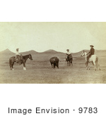 #9783 Picture Of Cowboys Roping A Buffalo