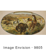 #9805 Picture Of Native Americans Hunting Bison