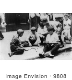#9808 Picture Of Boys Playing Checkers On The Sidewalk