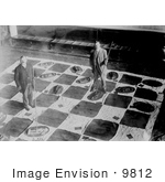 #9812 Picture Of Men Playing Lawn Checkers