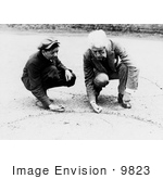 #9823 Picture Of A Man Showing A Boy How To Shoot Marbles