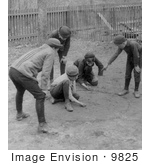 #9825 Picture of Boys Playing a Game of Marbles by JVPD