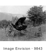 #9843 Picture Of A Girl In A Carriage