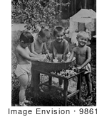#9861 Picture of Boys Playing in Water by JVPD