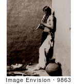 #9863 Picture Of An American Indian Playing An Instrument