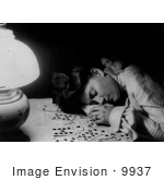 #9937 Picture Of A Woman Sleeping On Cards