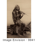 #9941 Picture Of A Yuma Indian Playing A Flute by JVPD