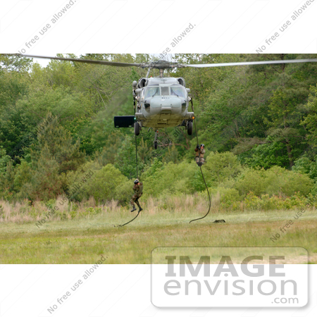 #10585 Picture of Soldiers Hanging on Ropes Under a Helicopter by JVPD