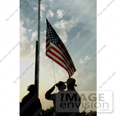 #10587 Picture of Soldiers Saluting the American Flag by JVPD