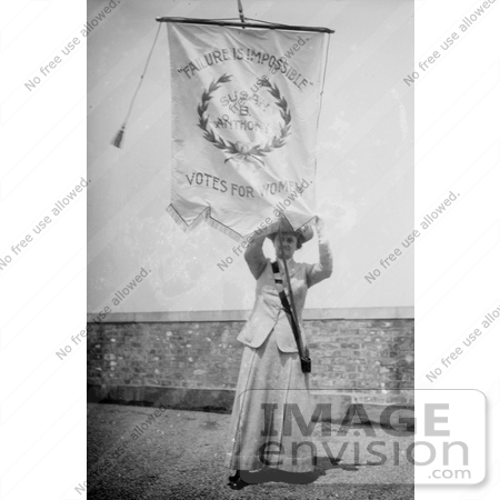 #10618 Picture of Susan B Anthony With a Votes For Women Flag by JVPD