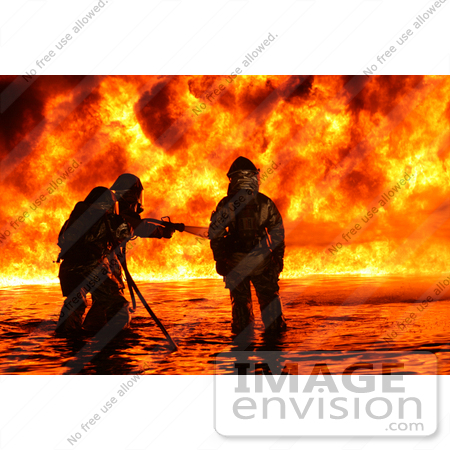 #10763 Picture of Firemen Fighting a Fire by JVPD