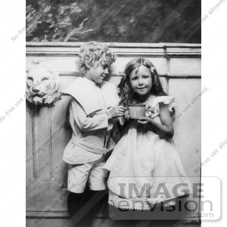 #11025 Picture of a Little Boy Helping a Girl With a Cup by JVPD