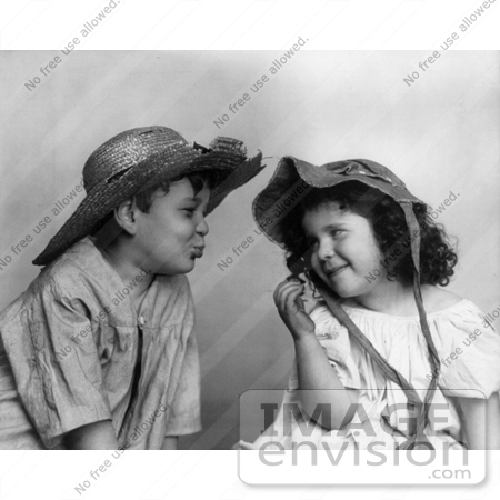 #11028 Picture of a Little Boy About to Kiss a Girl by JVPD
