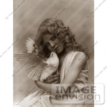 picture of an angelic girl holding a dove by jvpd