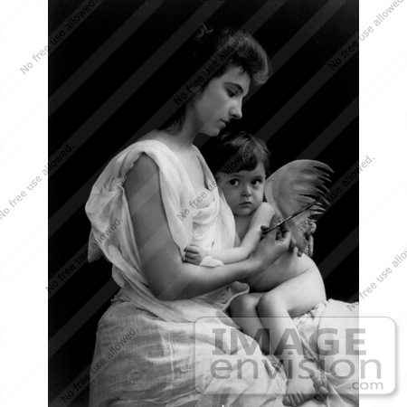 #11044 Picture of a Mother Clipping Her Baby Angel's Wings by JVPD