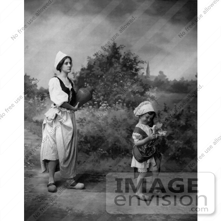 #11048 Picture of a Woman and Child in Dutch Costumes by JVPD