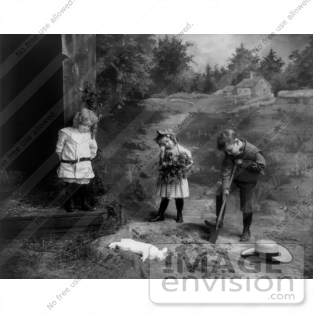 #11058 Picture of Sad Children Burying a Dead Pet Bunny Rabbit by JVPD