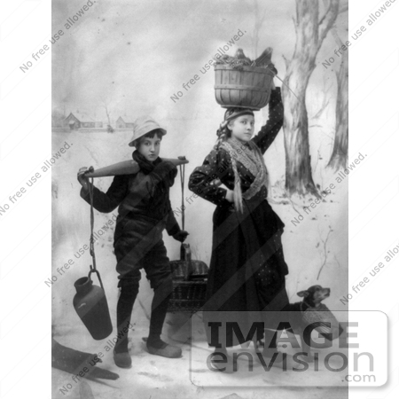 #11072 Picture of a Boy and Girl Carrying Supplies by JVPD
