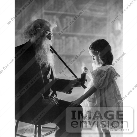 #11073 Picture of a Little Girl Lighting an Old Man's Pipe by JVPD