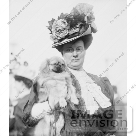 #11120 Picture of a Woman Holding a Pekinese Dog by JVPD