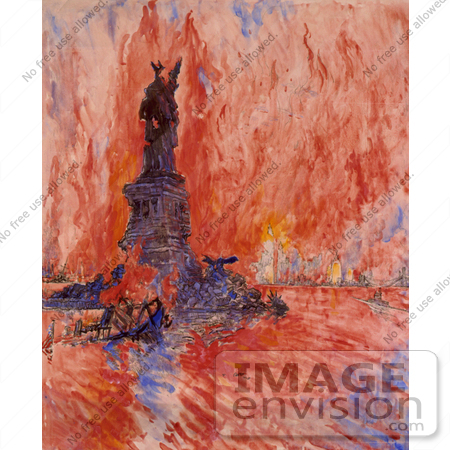 #11151 Picture of New York and Statue of Liberty in Fire by JVPD