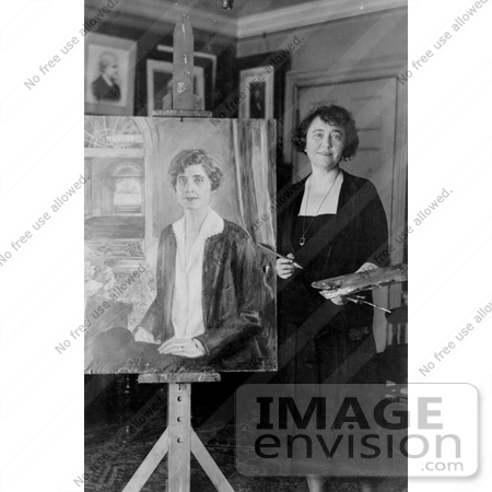 #11237 Picture of a Painter With a Portrait of Grace Coolidge by JVPD