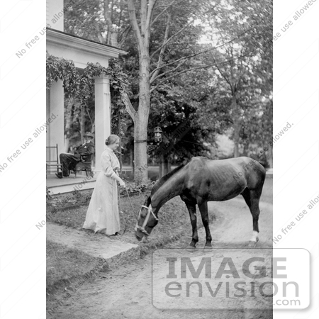 #11245 Picture of Helen Keller With a Horse in 1907 by JVPD