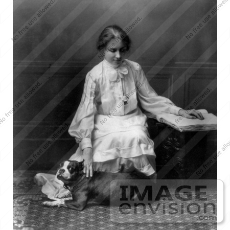 #11259 Picture of Helen Keller Reading Braille and Petting a Dog by JVPD