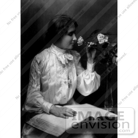 #11302 Picture of Helen Keller Smelling a Rose and Reading Braille by JVPD